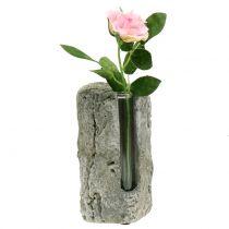 Concrete vase with test tube H15cm 3pcs