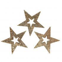 Wood Star Gold Decoration to control 4cm 48pcs