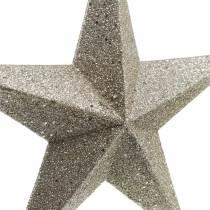 Glitter stars to hang champagne Ø21cm 3pcs