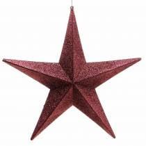 Glitter star to hang burgundy Ø30cm