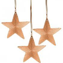 Star pendant, Christmas decoration, metal decoration copper-colored 9.5 × 9.5cm 3pcs