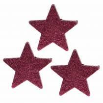 Scattered glitter star 6.5cm pink 36pcs