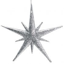 Glitter star for hanging Silver 13cm 12pcs