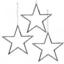 Star to hang, Christmas tree decorations, decoration star silver 11.5 × 12cm 12pcs