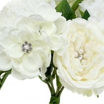 Deco bouquet white with pearls and rhinestones 29cm