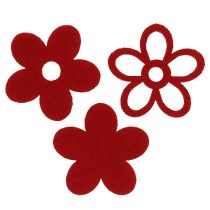 Litter-Deco felt flower red sorted in the mix Ø4cm 72pcs