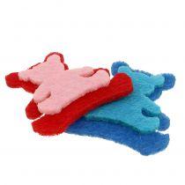 Decoration to control bear made of felt assorted colors 3,5cm x 3,5cm 100pcs