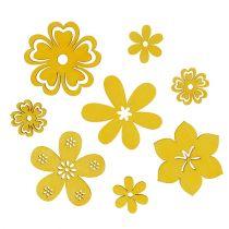 Decoration to control Wood Flower Yellow 2cm - 4cm 96pcs