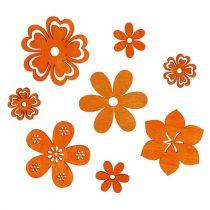 Decoration to control Wood Flower Orange 2cm - 4cm 96pcs