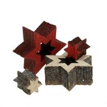 Wood Star Mix for Scattering Red, Gray 2cm 96pcs