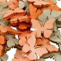 scatter butterfly wooden butterflies summer decoration orange, apricot, brown 144p