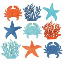 Maritime Scatter Decoration Wood Kight blue, Blue, Orange Assorted 4cm 72p