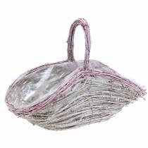 Flower basket with handle white-old rose 35cm × 17cm H25cm
