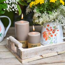Pure pillar candle brown 90/60 natural wax candle sustainable stearin rapeseed candle decoration