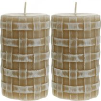 Rustic wax candles, brown pillar candles, braided candles 110/65 2pcs