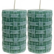 Candles with braided pattern, pillar candles Rustic green, candle decoration 110/65 2pcs