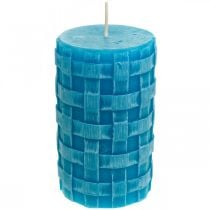 Rustic pillar candles, basket pattern candles, turquoise wax candles 110/65 2pcs