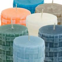 Pillar candles Rustic 80/65 candle different colors 2pcs