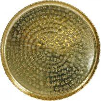 Round metal tray, golden decorative plate, oriental decoration Ø30cm