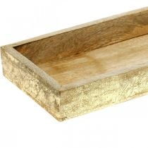 Wooden tray with gold effect, table decoration, mango wood L34cm