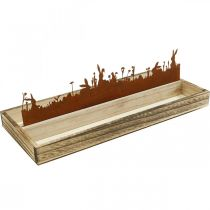 Decorative tray Easter meadow, spring decoration, wooden tray with stainless steel rust 35 × 15cm
