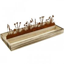 Wooden tray spring meadow, Easter decoration, decorative tray noble rust 35 × 15cm