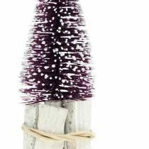 Mini glitter Christmas tree purple, white snow-making 14cm 3pcs