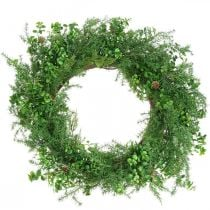 Decorative wreath large coniferous branches, cones and boxwood green 70cm