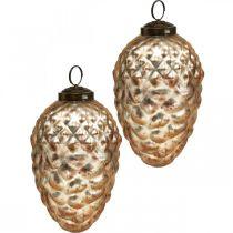 Pine cone pendant, Christmas tree decorations, autumn decoration, real glass, antique look Ø7cm H11.5cm 6pcs