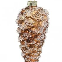 Pine cones with snow, Christmas decorations, Christmas tree decorations Brown H13cm Ø6cm Real glass 3pcs