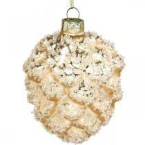 Cones to hang, tree decorations, snow-covered decorative cones Golden H9.5cm Ø8cm real glass 3pcs