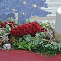 Autumn cones decoration hanger, advent decorations, pine cones flocked red H13cm Ø6cm 6S