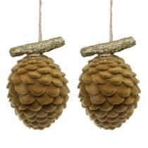 Pine cones Christmas decoration for hanging Brown, Gold 9×7cm/8.5×6cm 4pcs