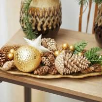 Pine cones gold, glitter 13cm 4pcs Christmas tree decorations