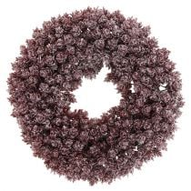 Pinecone wreath Ø25cm Burgundy iced