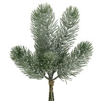 Fir branch green iced 30cm 3pcs