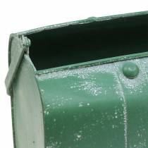 Planter bag with handle metal green, white washed H20cm