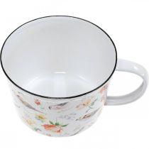 Birds / flowers planter, planter, decorative enamel cup, planter