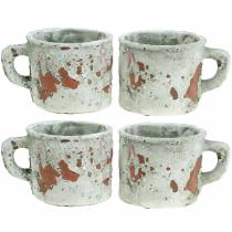 Plant pot planter cup vintage gray, natural clay Ø8.5cm H8cm 4pcs