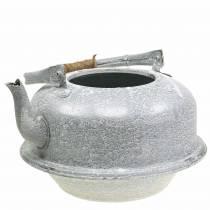Planter tea kettle zinc gray, white washed Ø26cm H15cm