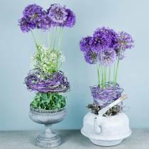 Decorative tea kettle planter metal white Ø8.6cm H16cm
