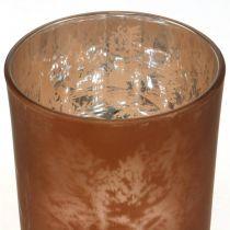 Glass lantern, tealight glass with leaf motif, autumn decoration Ø8cm H9cm 2pcs