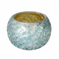 Lantern made of glass silver ice blue Ø8.5cm H6cm