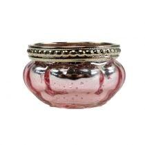 Tealight glass pink Ø6cm H3.5cm