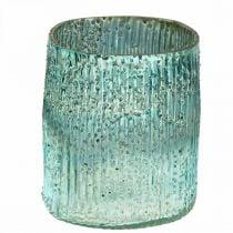 Tealight glass blue wind light glass table decoration 12cm