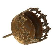 Tealight holder gold antique Ø5cm H10cm 1p
