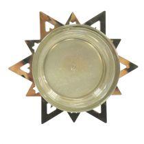 Tealight holder star gold 23.5cm 4pcs