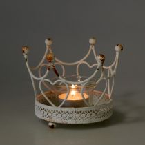 Tealight holder crown white Ø13cm H9,5cm