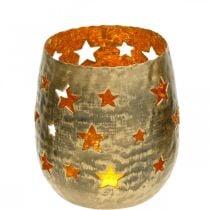Advent decoration tealight holder with stars metal golden Ø8.5cm H11cm