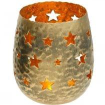 Tealight holder Christmas decoration stars antique optics metal golden Ø9cm H13cm